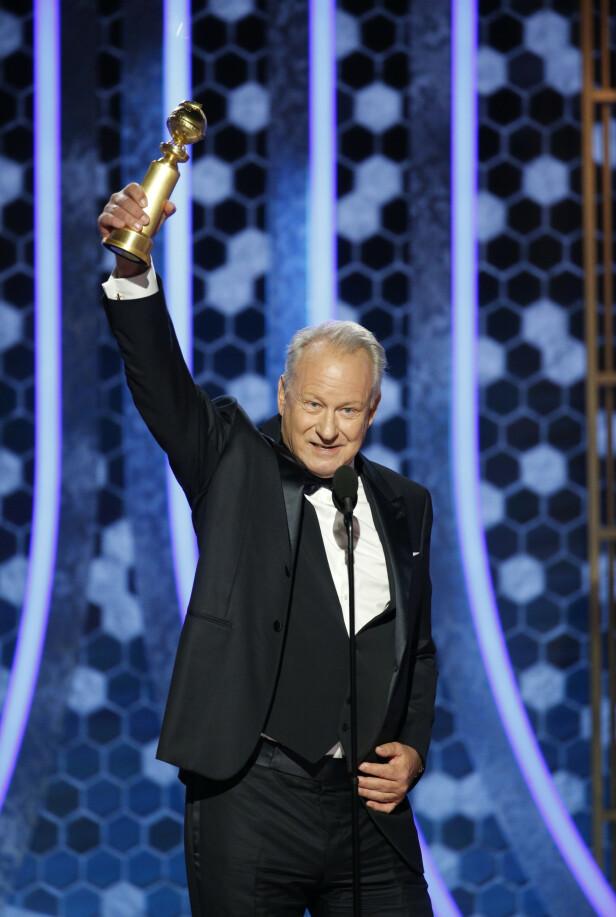 VINNER: Svenske Stellan Skarsgård hentet hjem en Golden Globe for sin rolle i tv-serien Chernobyl. Foto: NTB Scanpix