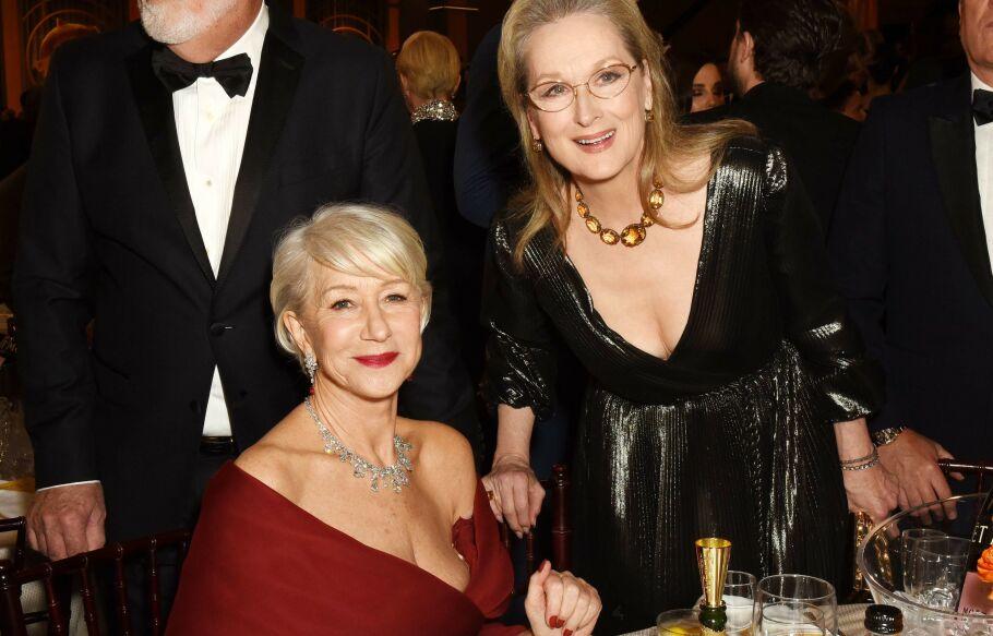 GOLDEN GLOBES: Helen Mirren fikk kjoletrøbbel under prisutdelingen. Foto: NTB Scanpix