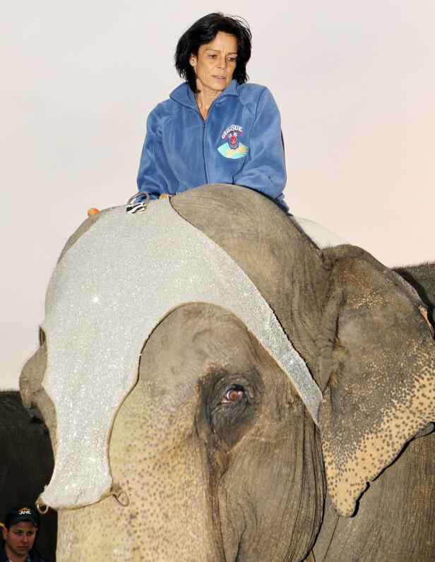 SIRKUSPRINSESSEN: Stéphanie av Monaco poserer på elefantryggen under den 35. sirkusfestivalen i Monte Carlo. FOTO: NTB Scanpix