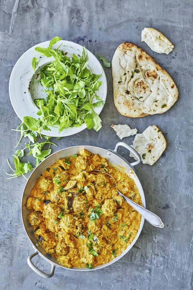 """Lag den indiske klassikeren med saftige kjøttboller og stekte biter av aubergine. """"Garam"""" betyr sterk og """"masala"""" betyr krydderblanding. FOTO: Winnie Methmann"""