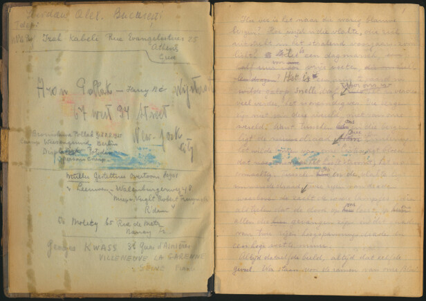 NOTATBOK: Eddy de Wind fant en gammel SS-notatblokk, som han skrev ned historien sin i. FOTO: Privat