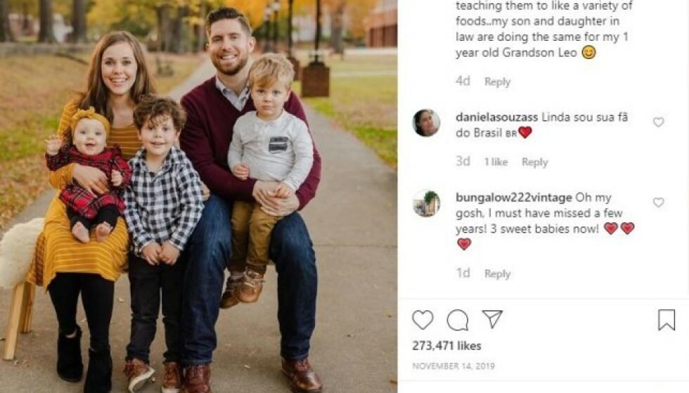 FAMILIEN: Jessa Duggar Seewald deler ofte bilder av hele familien på profilen sin. Skjermdump: @jessaseewald / Instagram.