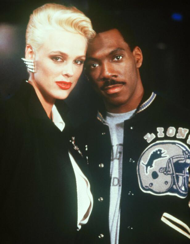 STJERNEMØTE: Brigitte Nielsen og Eddie Murphy under innspillingen av «Beverly Hills Cop II» i 1987. FOTO: NTB Scanpix