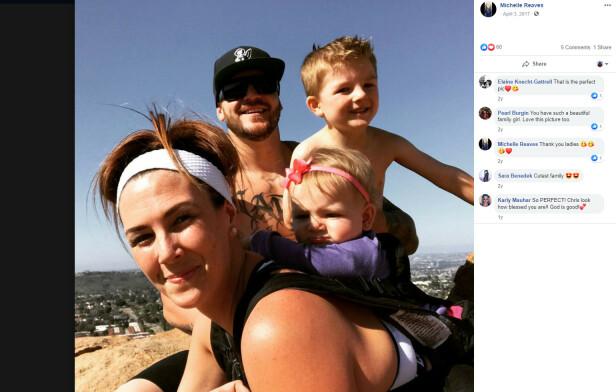 FAMILIEKJÆR: Michelle med ektemannen Chris og barna Gage og Monroe på utflukt. FOTO: Skjermdump Facebook