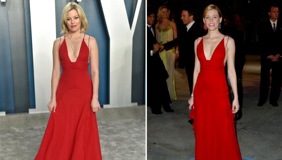 ELIZABETH BANKS: Den amerikanske skuespilleren gikk for gjenbruk og stilte i samme kjole som for 16 år siden. Bildet til venstre er tatt i år. FOTO: NTB scanpix