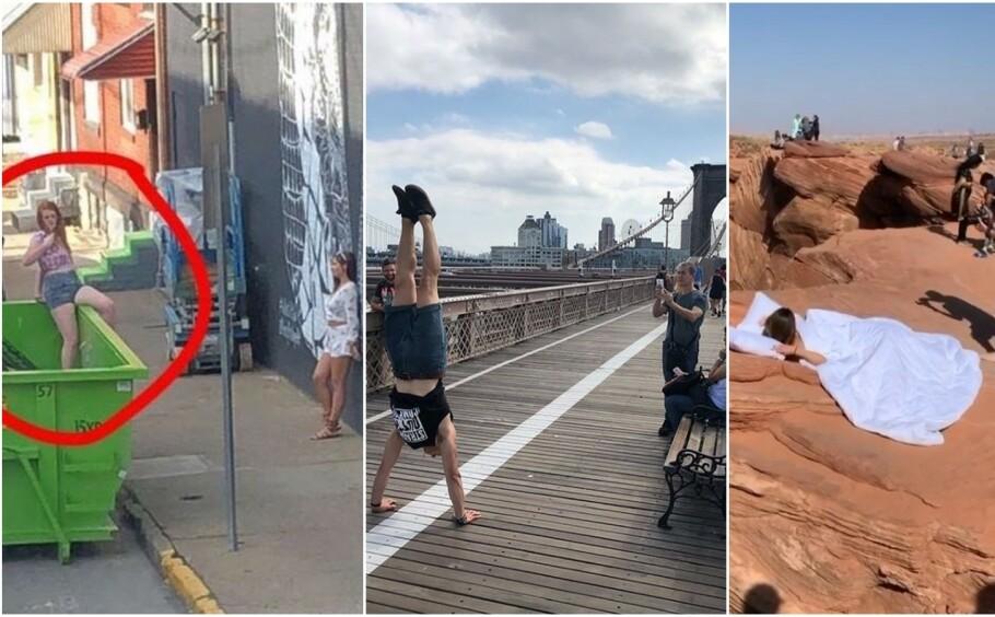 <strong>GJØR ALT FOR DET PERFEKTE BILDET:</strong> Tre eksempler på helt normal oppførsel i 2020. FOTO: Skjermdump fra «Influencers in the wild»