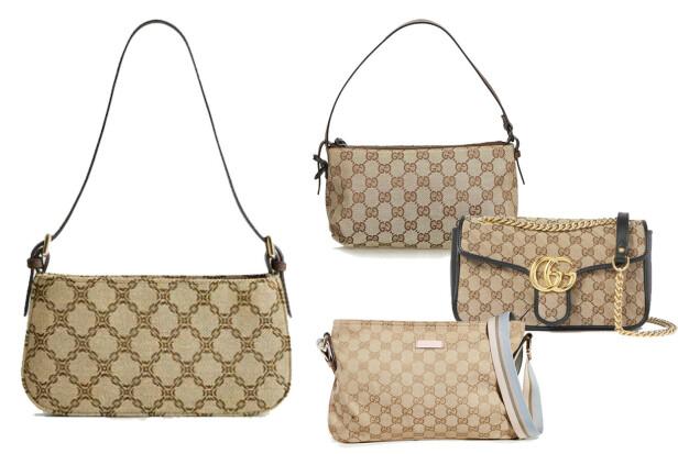 Vesken til venstre er fra Mango og koster kroner 199. Veskene til høyre er alle fra Gucci. Den øverst er vintage og koster cirka kroner 6000. Den i midten finnes på Net-a-porter og koster kroner 16388. Den nederst koster kroner 7218 på Shopbop.