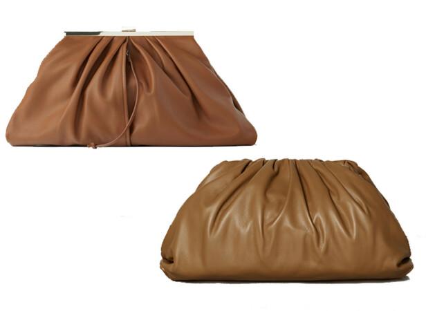 Vesken øverst til venstre er fra Zara og koster kroner 999. Vesken til høyre er fra Bottega Veneta og koster kroner 23 000.