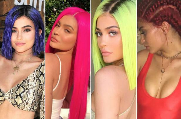 FORANDRING FRYDER: Kylie Jenner har farget håret – og har parykker i – alle regnbuens farger. FOTO: Instagram