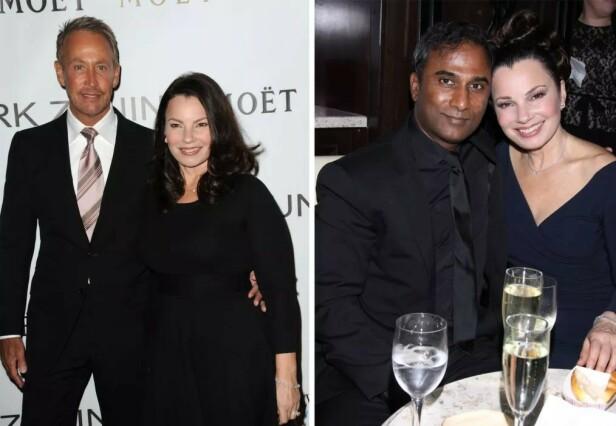 EKSMENN: Fran Drescher var gift med Peter Marc Jacobson (t.v.) fra 1978 til 1999. I 2014 inngikk hun et såkalt spirituelt giftemål med den indiske fysikeren Shiva Ayyadurai. De gjorde det slutt i 2016. Foto: NTB scanpix