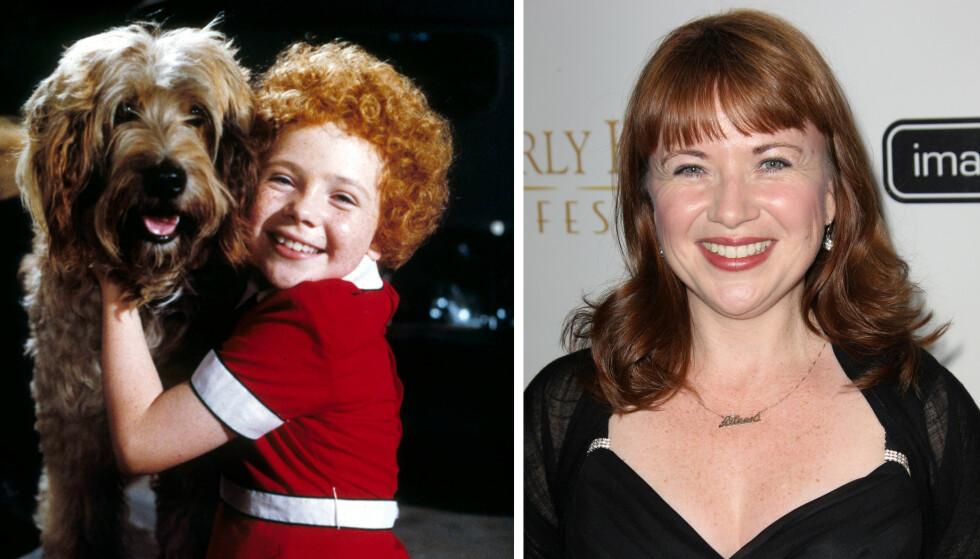 NÅ OG DA: Aileen var 9 år da hun fikk rollen som Annie i filmmusikalen, og 11 år da den ble spilt inn. I dag er hun 48 år, og er frontfigur i et rockabilly-band. FOTO: NTB scanpix