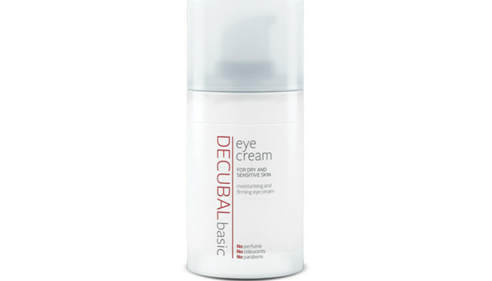 ØYEKREM: Decubals øyekrem inneholder ceramider, kollagen og keratin, som strammer opp den tynne huden rundt øynene, slik at man ser mer opplagt ut. Den inneholder også hyaluronsyre og vitamin E, som gir fuktighet og beskytter huden— HELLO!