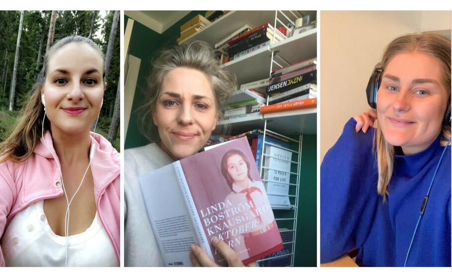 UNDERHOLDNING: Det lyttes, leses og sees mye om dagen! Under får du KK-redaksjonens favoritter - her representert ved journalist Malini, journalist Benedicte og some-ansvarlig Mina. FOTO: Privat