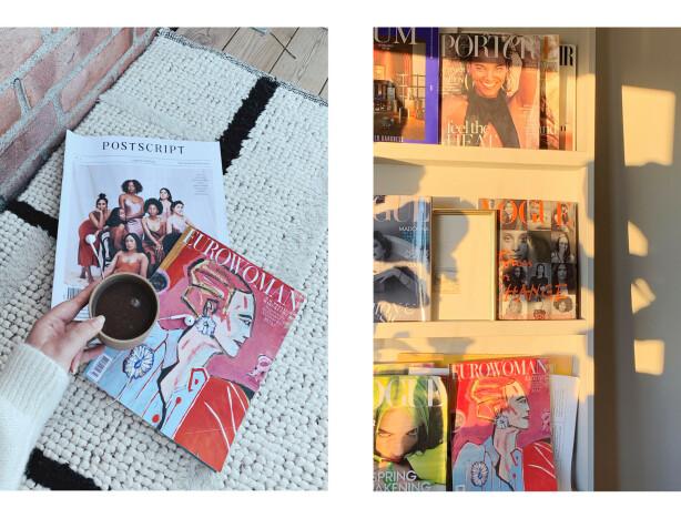 INSPIRASJON: Malin Gaden elsker å hente inspirasjon fra utenlandske magasiner - og har en hel vegg hjemme med samleobjekter. FOTO: Privat