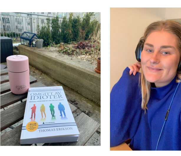 LITTERATUR I DET FRI: Some-ansvarlig Mina Knudsen ahr akkurat begynt å lese boken «Omgitt av idioter». FOTO: Privat