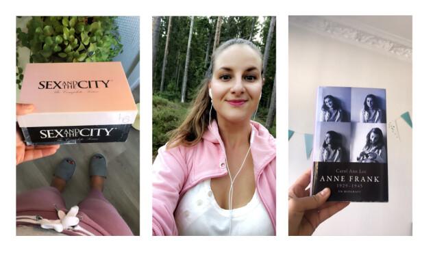FAVORITTER: For journalist Malini går det i Sex og singelliv, biografien om Anne Frank og Under krigen-podkast på øret om dagen. FOTO: Privat