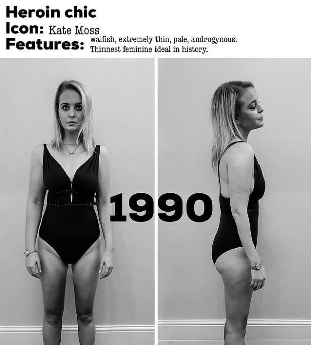 HEROIN CHIC: På nittitallet skulle man helst se litt usunn og misfornøyd ut, og kroppsidealet var tynnere enn noen gang før. FOTO: Privat