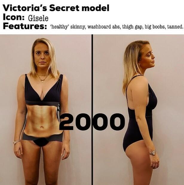 INSPIRERT AV GISELLE: På 2000-tallet skulle vi helst være sporty-tynn, med synlige magemuskler og solbrun hud. FOTO: Privat