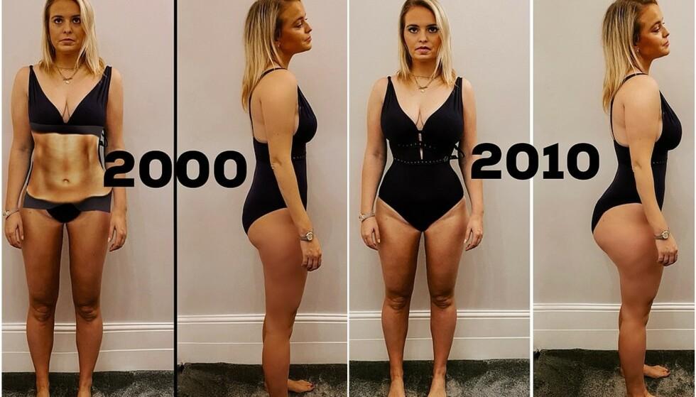 KROPPSIDEAL GJENNOM TIDENE: Alexandra Light redigerte et bilde av sin egen kropp for å se hvordan hun ville se ut med den «perfekte kroppen» i de forskjellige tiårene. FOTO: Privat