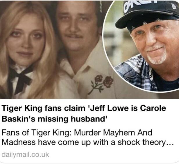 PÅSTAND: Fans av «Tiger King» mener de har oppklart hvor det ble av Carole Baskins forsvunne ektemann. FOTO: Skjermdump Daily Mail, Netflix.