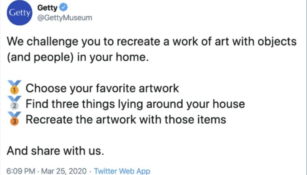 <strong>UTFORDRING:</strong> Getty Museum i Los Angeles kom med denne oppfordringen på Twitter. FOTO: Skjermdump Twitter.