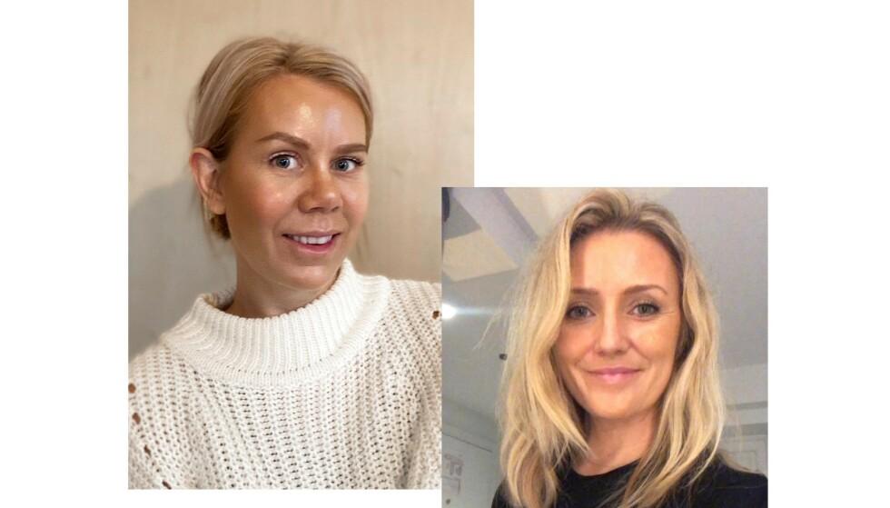 HUDPLEIE-ENTUSIASTER: Både Elisabeth Ødegaard (t. v.) og Anne Linn Fjordholm er over gjennomsnittet opptatte av hudpleie. Begge er strålende fornøyd med Skincitys veiledning på nett. FOTO: Privat