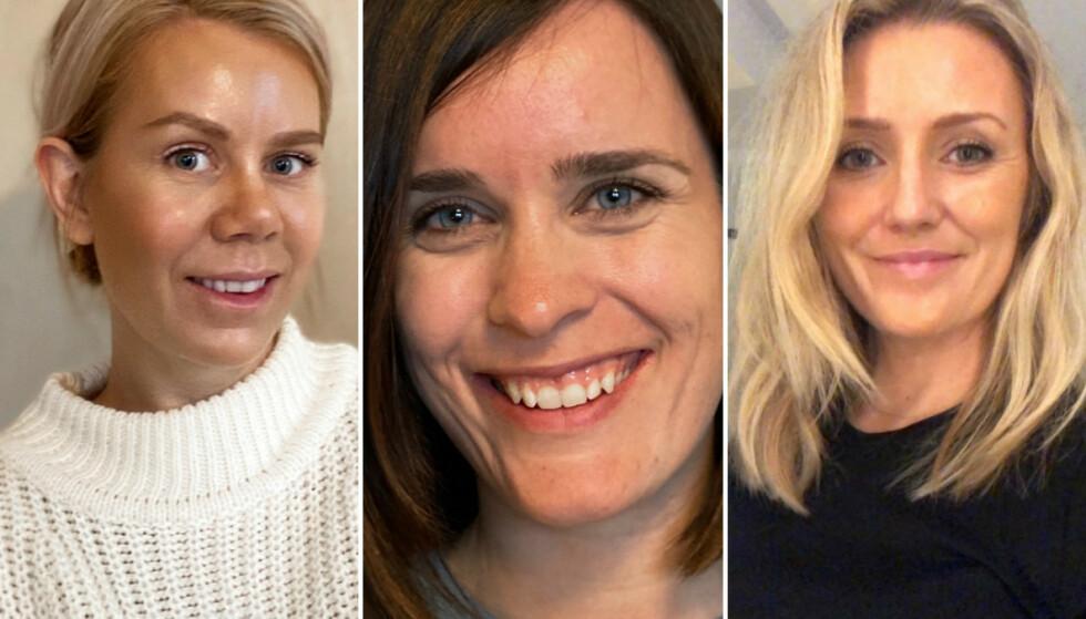STORFORNØYDE: Skincity er en online hudpleieklikk som tilbyr gratis hudpleieveiledning på nett. Elisabeth Ødegaard (f. v.), Else Rødset Svensson og Anne Linn Fjordholm er blant de fem kvinnene som har fått teste tjenesten – og tilbakemeldingene er strålende. FOTO: Privat