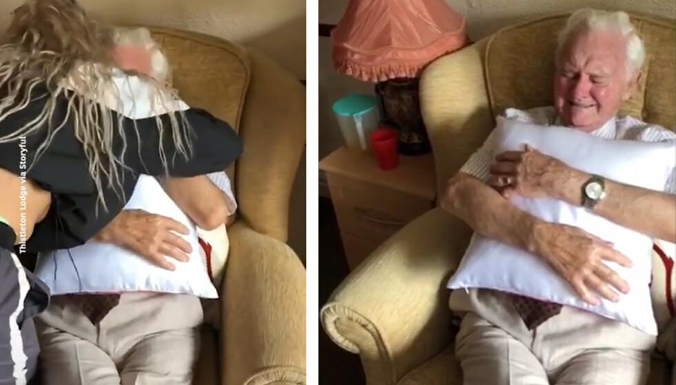 RØRENDE: Kia gir Ken en god klem etter at han ble tydelig preget av gaven hun ga ham. Foto: Skjermdump