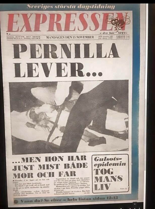 Dagen etter ulykken havnet Pernilla på forsiden på avisen Expressen.