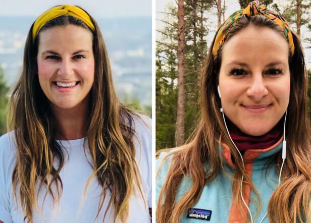 TEST: KK-journalist Malini Gaare Bjørnstad testet kollagenpulver i fem måneder, og merket ingen forskjell på huden da testen var gjennomført. Disse to bildene er tatt før og etter testen. FOTO: KK