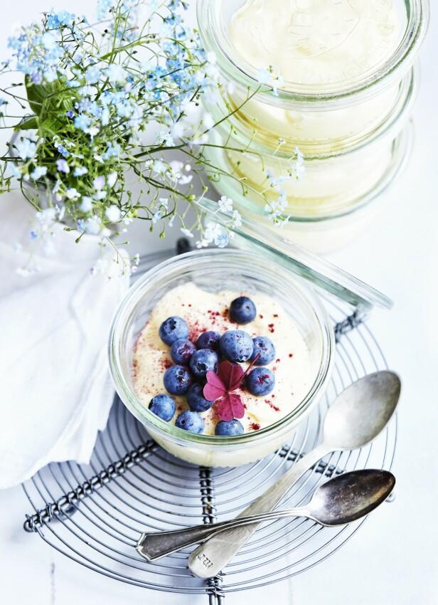 Dette er en fløyelsmyk dessert med et herlig syrlig piff av sitron og blåbær. FOTO: Betina Hastoft