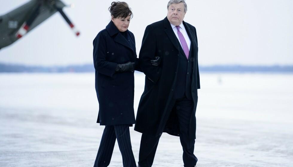 FRAKK 2: Melanias foreldre Amalija og Viktor Knavs i februar 2019. Har Viktor muligens på seg samme frakk som Trump noen måneder tidligere? FOTO: NTB Scanpix
