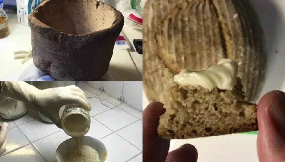 GAMMELT NYTT: Seamus Blackley stekte brødene i gamle fat og krukker, for at resultatet skulle bli mest mulig autentisk. FOTO: Skjermdump @SeamusBlackley/Twitter