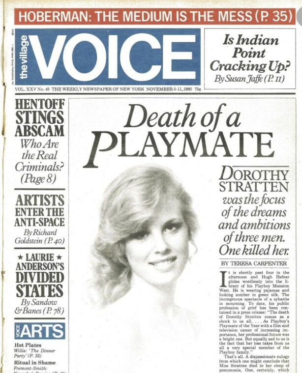 PRISVINNENDE: Teresa Carpenters artikkel om Dorothy Stratten vant Pulizer-prisen i 1980. FOTO: Faksimile The Village Voice