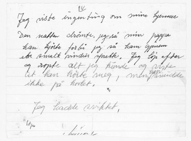 NOTATET: Dette notatet ført i pennen av Fanny Raskow, har gjort sterkt inntrykk på datteren Irene Levin. FOTO: Privat