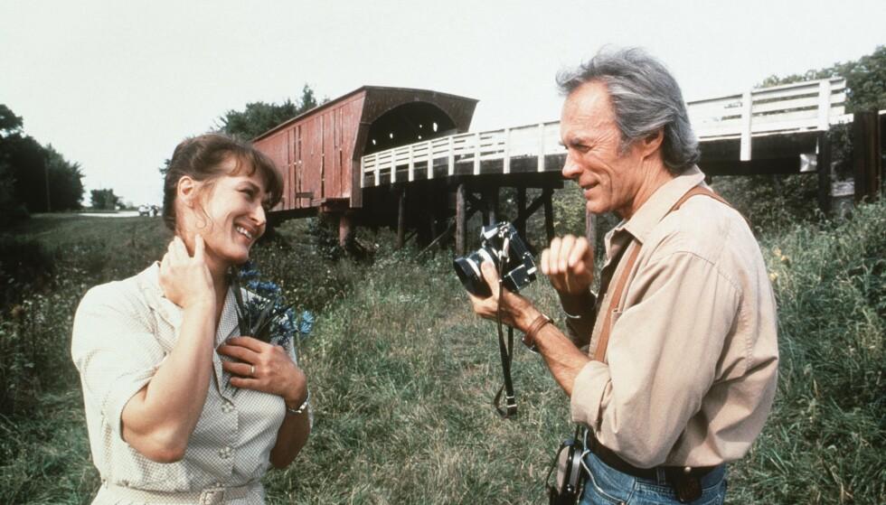 <strong>LADDET MØTE:</strong> Meryl Streep og Clint Eastwood i minneverdige «Broene i Madison County fra 1995, der Clint også regisserte. FOTO: NTB Scanpix