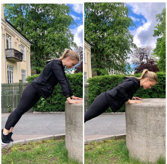 <strong>PUSHUP:</strong> Du kan fint øve deg på pushup på en høyning. FOTO: Torp &amp; Co