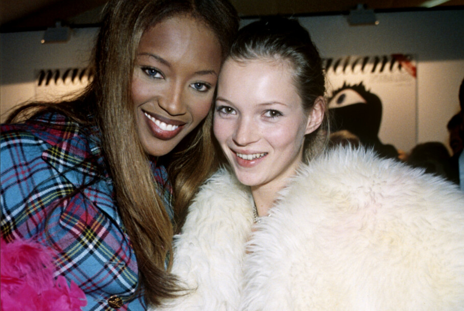 SUPERSTJERNER: Naomi Campbell (t. h.) og Kate Moss var to av 90-tallets mest ettertraktede modeller. FOTO: Scanpix