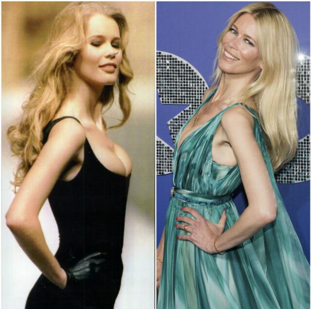 Til venstre er Schiffer avbildet på catwalken for Chanel i 1993. Til høyre er hun på filmpremiere i 2019. FOTO: Scanpix