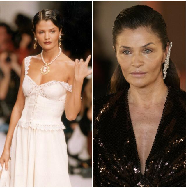 Til venstre er Christensen avbildet i 1994. Til høyre er hun tilbake på catwalken for it-merket Balmain i fjor år. FOTO: Scanpix
