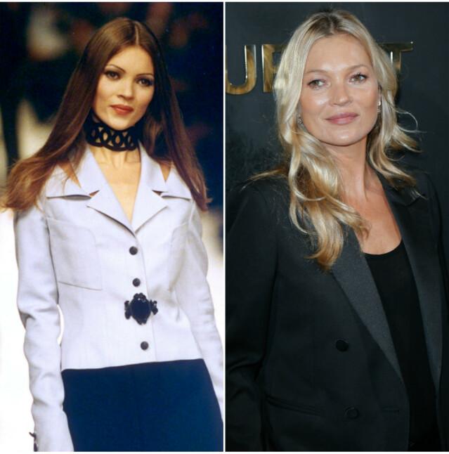 Til venstre er Moss på catwalken i 1992. Til høyre er hun på Saint Laurent-visning i 2019. FOTO: Scanpix