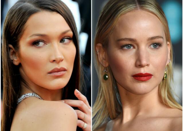 Du har kanskje ikke tenkt over at modell Bella Hadid (t. v.) og skuespillerinne Jennifer Lawrence deler flere likhetstrekk? FOTO: Scanpix