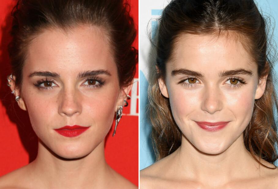SOM TO DRÅPER VANN: Det er slett ikke rart at «Harry Potter»-stjernen Emma Watson og skuespillerkollega Kiernan Shipka ofte forveksles. Se, så like! FOTO: Scanpix