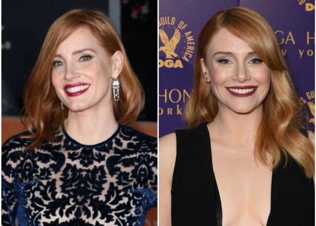 Likheten strekker seg (mye) lenger enn til hårfargen med skuespillerinnene Jessica Chastain (t. v.) og Bryce Dallas Howard. FOTO: Scanpix