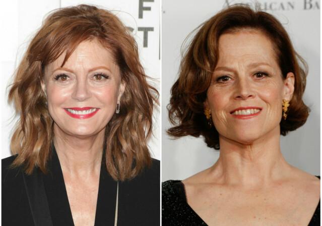 Susan Sarandon (t. v.) og Sigourney Weaver er begge kjente skuespillerinner, og ikke bare er de like talentfulle – de er også like i utseende. FOTO: Scanpix