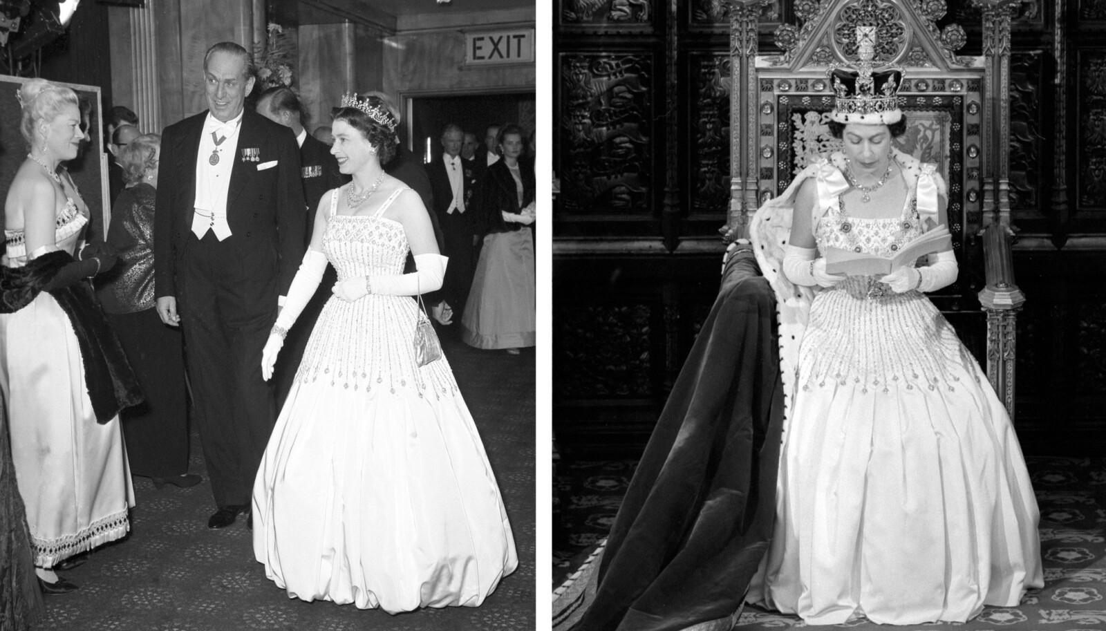 <strong>GJENBRUK:</strong> Dronning Elizabeth i kjolen som barnebarnet mange år senere skulle velge som brudekjole. Bildet til venstre er tatt under filmpremieren i 1962, mens bildet til høyre et tatt fire år senere i Parlamentet. FOTO: NTB scanpix