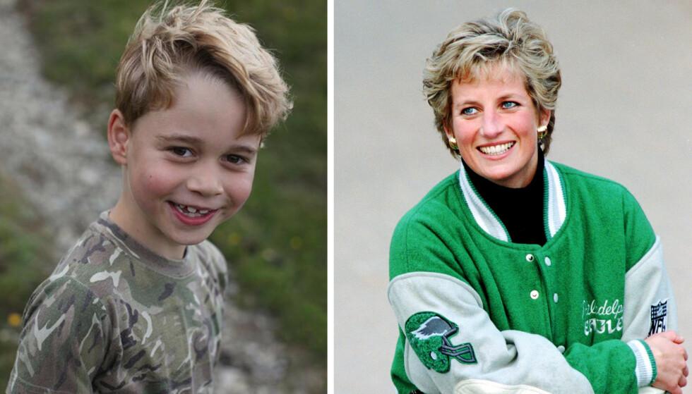 <strong>KONGELIG:</strong> Nytt foto av prins George i anledning 7-årsdagen! Mange mener sjarmøren er en tro kopi av sin avdøde farmor prinsesse Diana. FOTO: Instagram og NTB scanpix