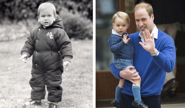 <strong>SOM TO DRÅPER VANN:</strong> Prins George ligner uten tvil på sin far prins William også. FOTO: NTB scanpix