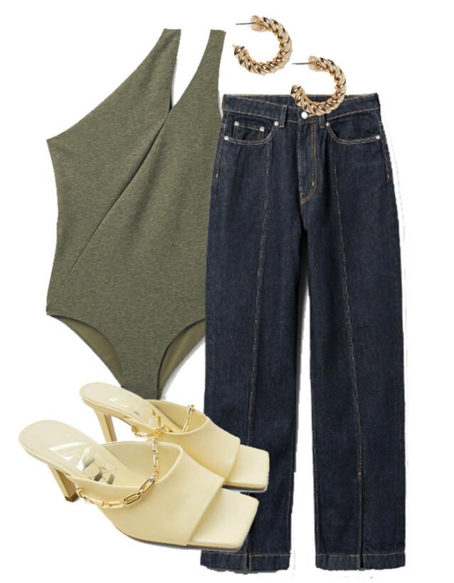 Badedrakt fra COS, kr 590. Jeans fra Weekday, kr 500. Øredobber fra H&M, kr 50. Sko fra Zara, kr 599.