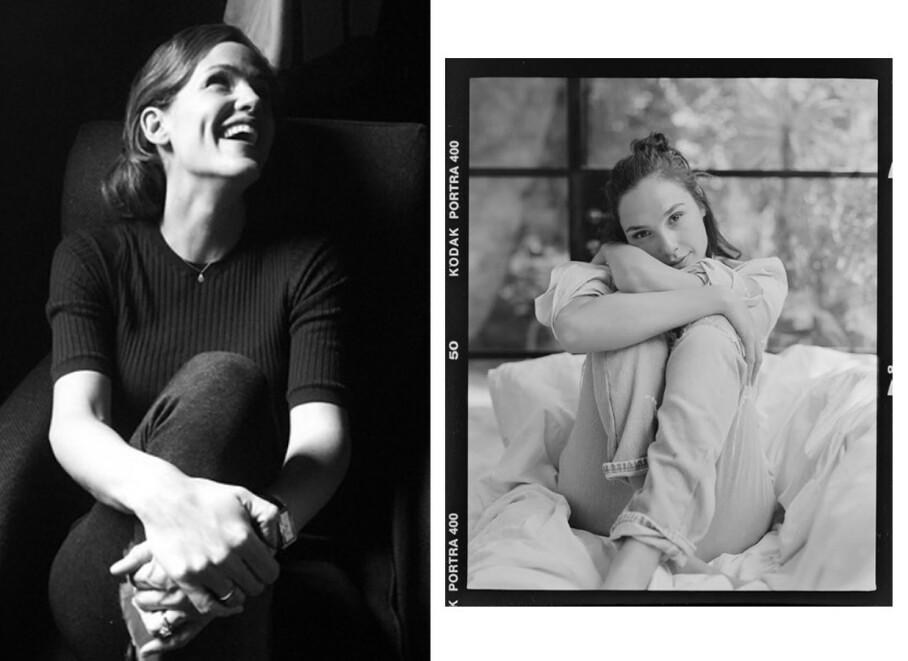 KASTET SEG PÅ TRENDEN: Jennifer Garner og Gal Gadot er blant kvinnene som har delt bilder av seg selv i svart-hvitt. Foto: Skjermdump fra Instagram